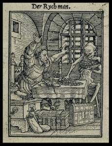 Death: a visitor who comes without warning. Hans Holbein the Younger, 'The Rich Man' (woodcut, c. 1526)